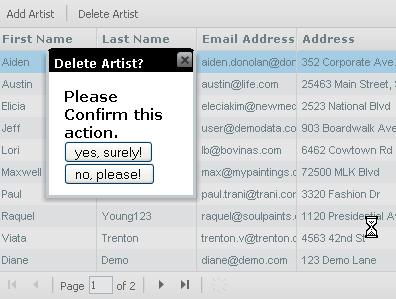delete in grid